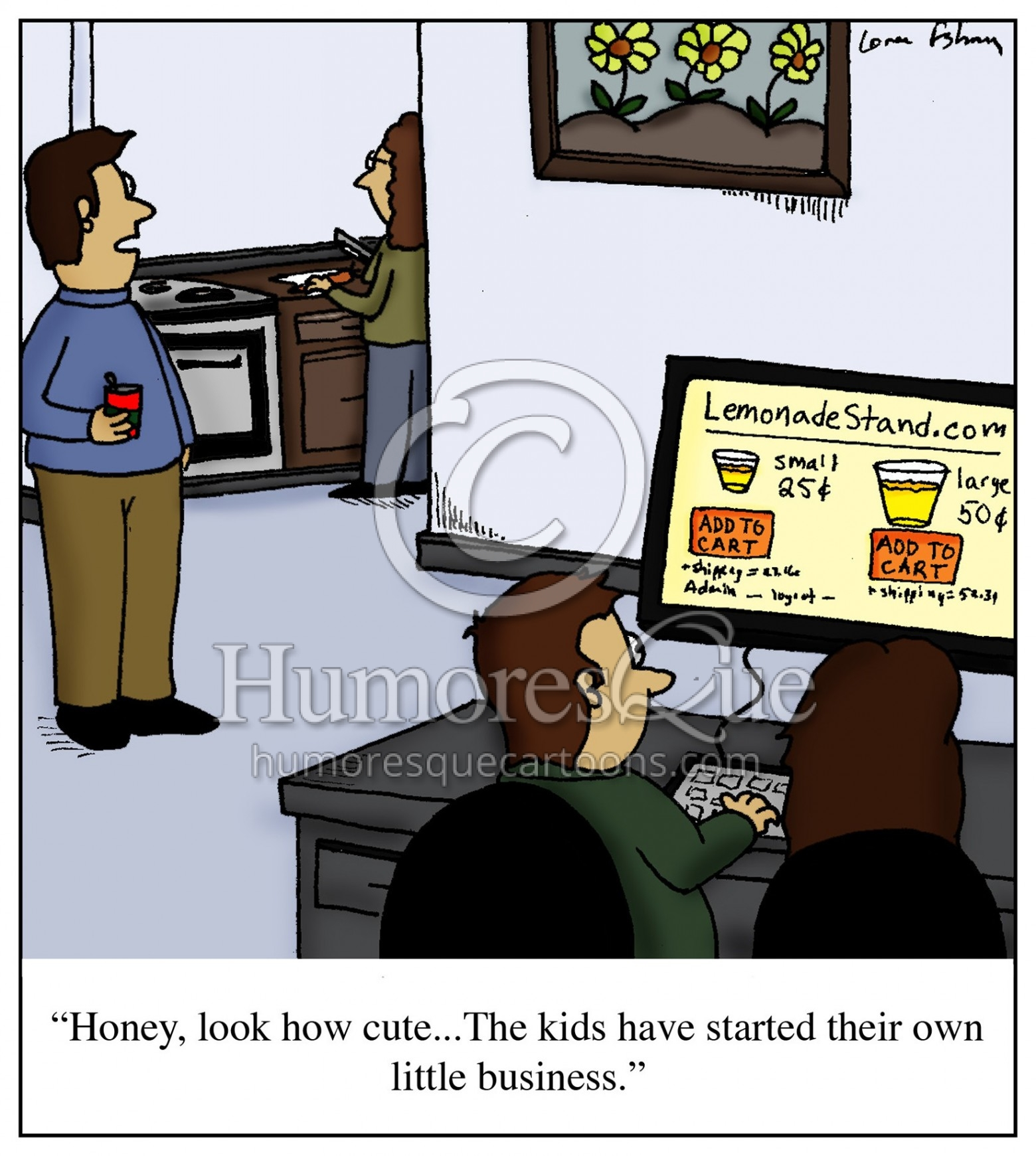 online lemonade stand ecommerce cartoon