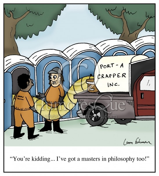 cartoon of minimum wage workers with masters in philosophy degrees