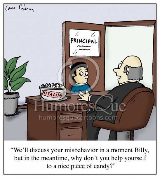 ritalin add cartoon of kid with principal and a bowl of ritalin