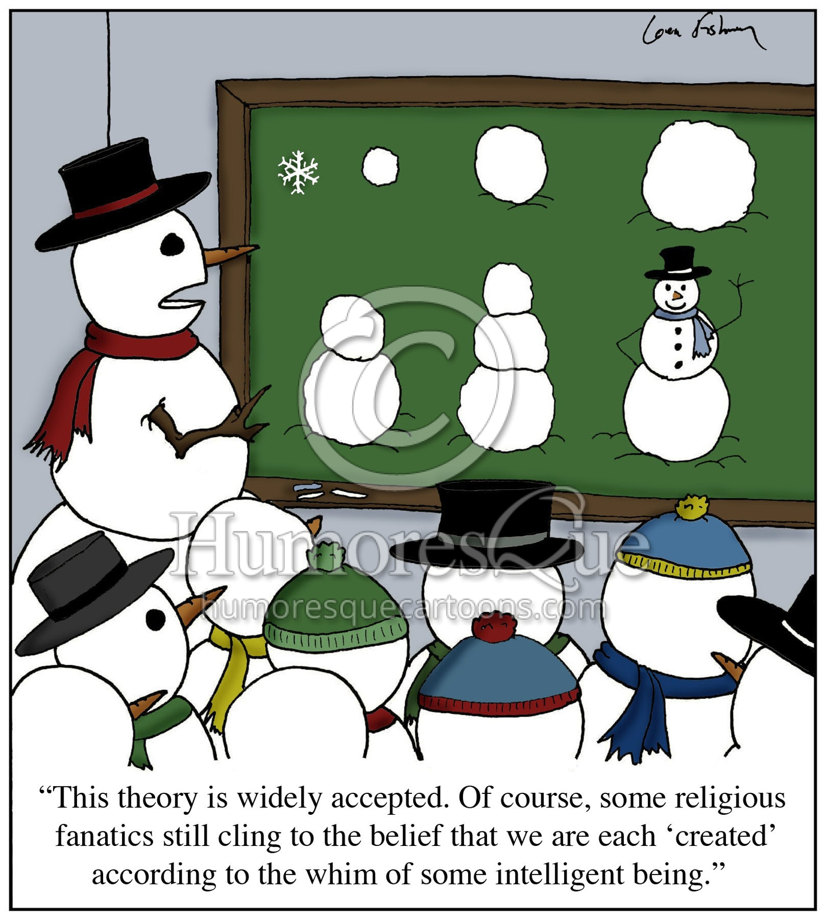 snowman evolution intelligent design religion in school cartoon