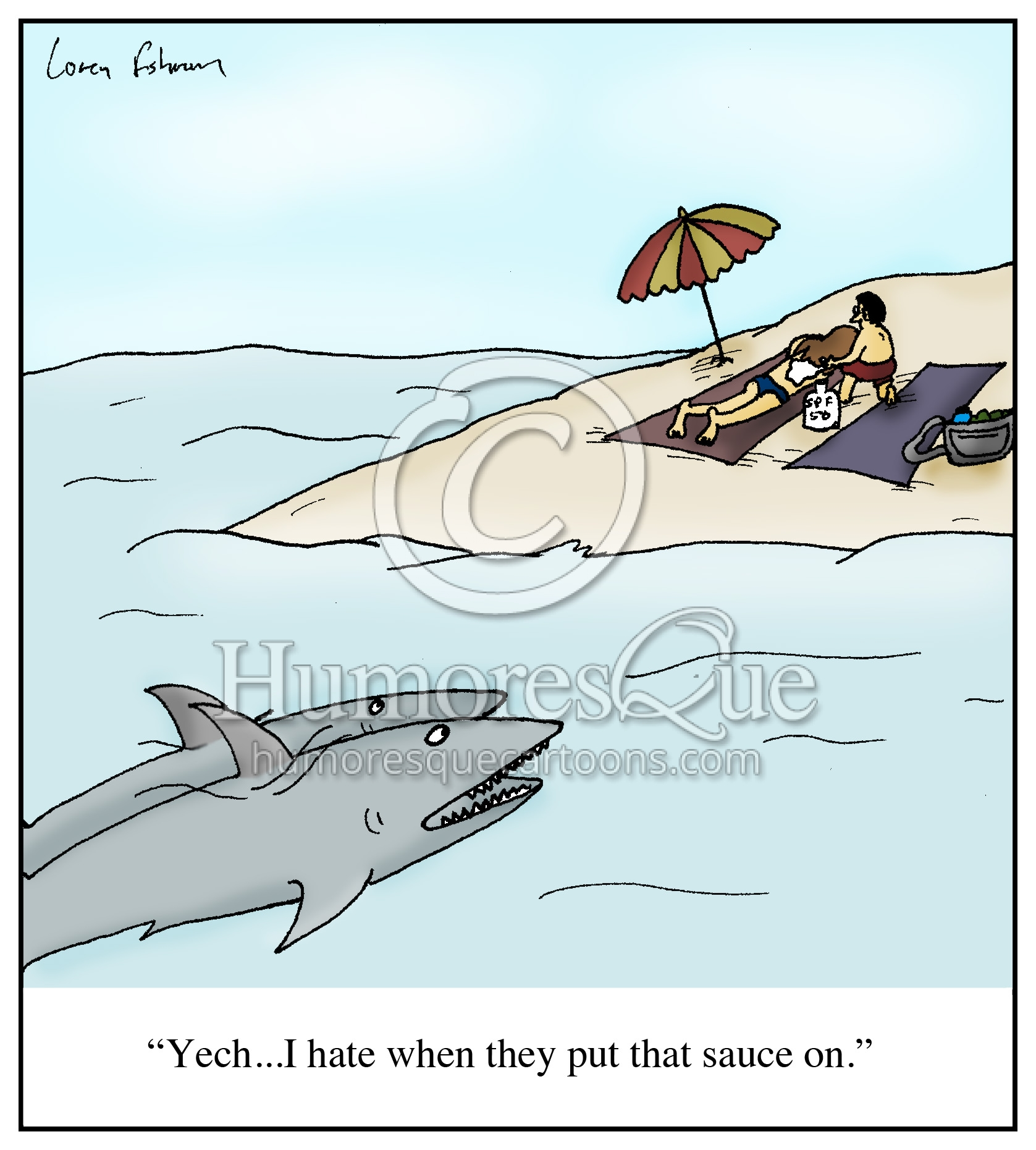 shark sunscreen putting sauce on cartoon