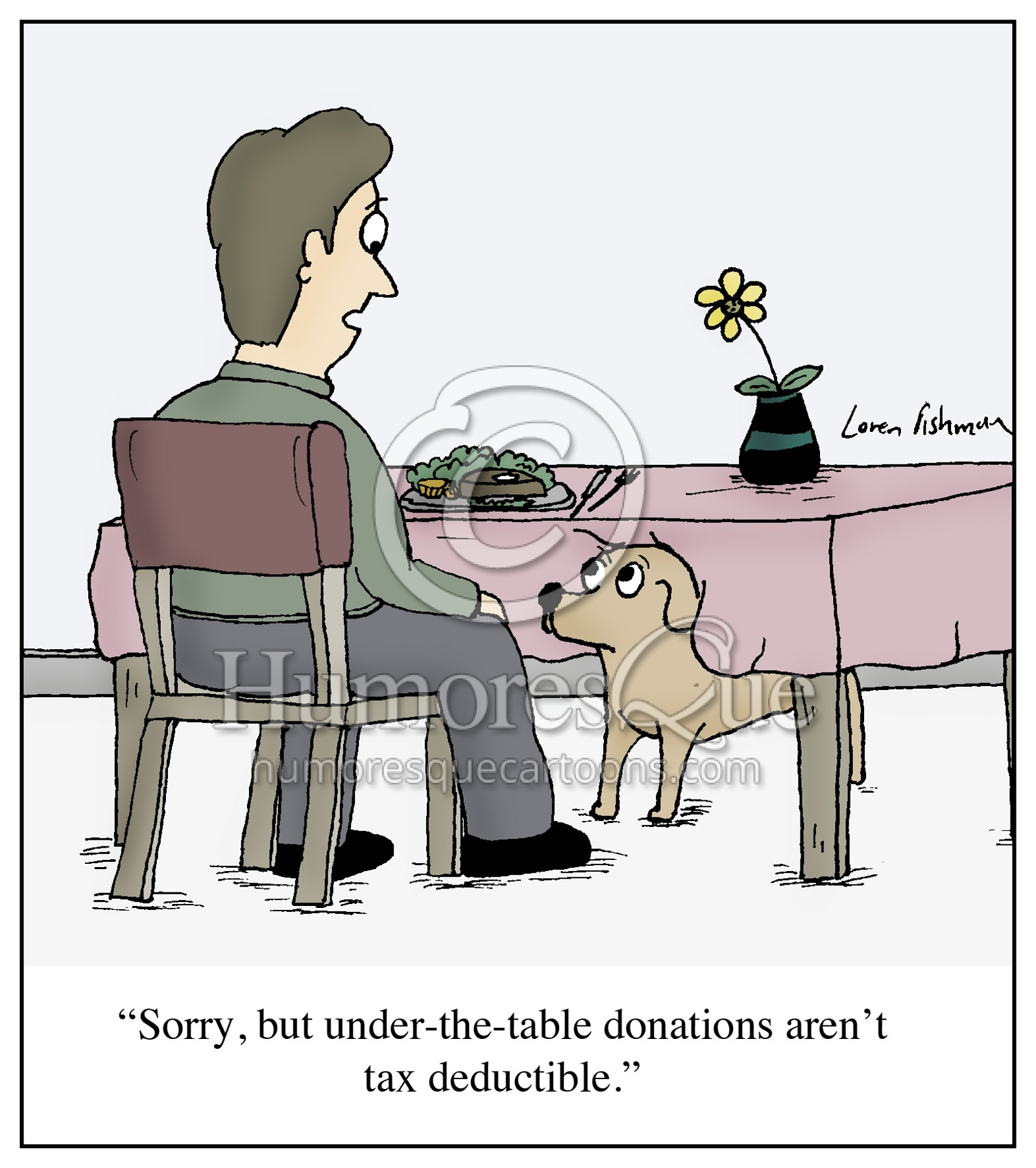 under the table tax deductible donation dog begging cartoon