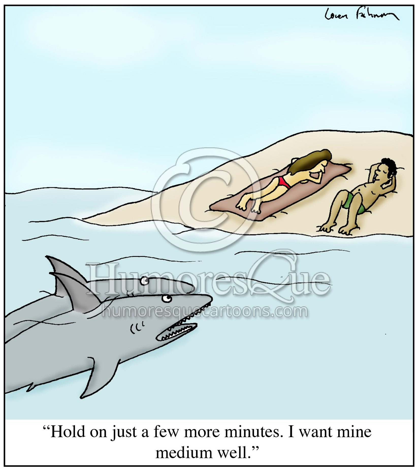 shark wating for sunbathing people to be medium well tanning cartoon