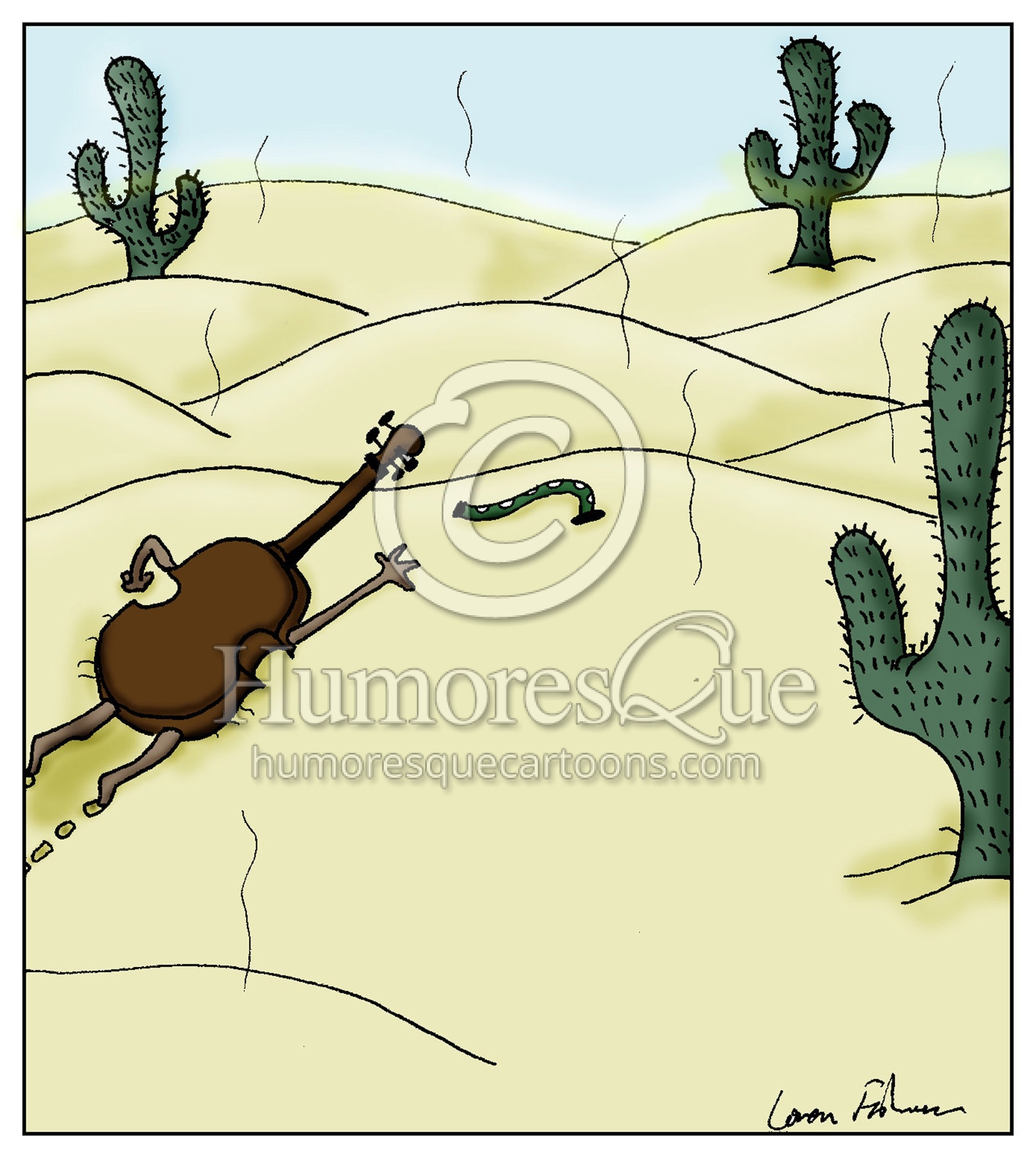 violin in the desert crawling toward a dampit cartoon