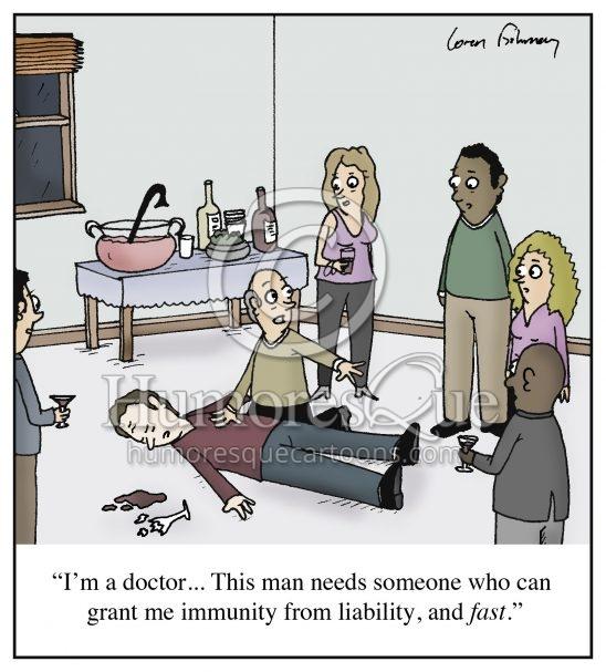 immunity from liability doctor lawsuit malpractice cartoon