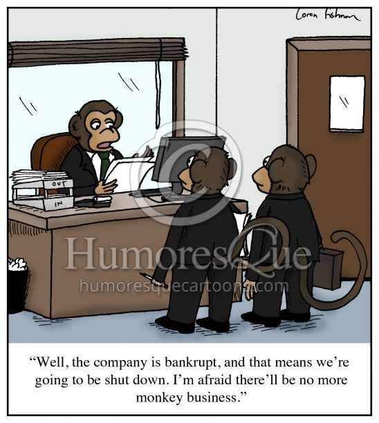 monkey buisness bankruptcy cartoon