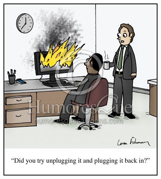 unplug and plug back in computer tech support office cartoon