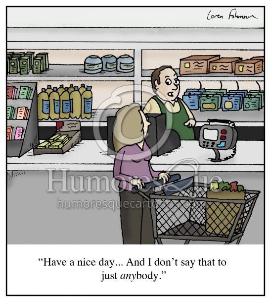 customer service have a nice day small talk conversation cartoon