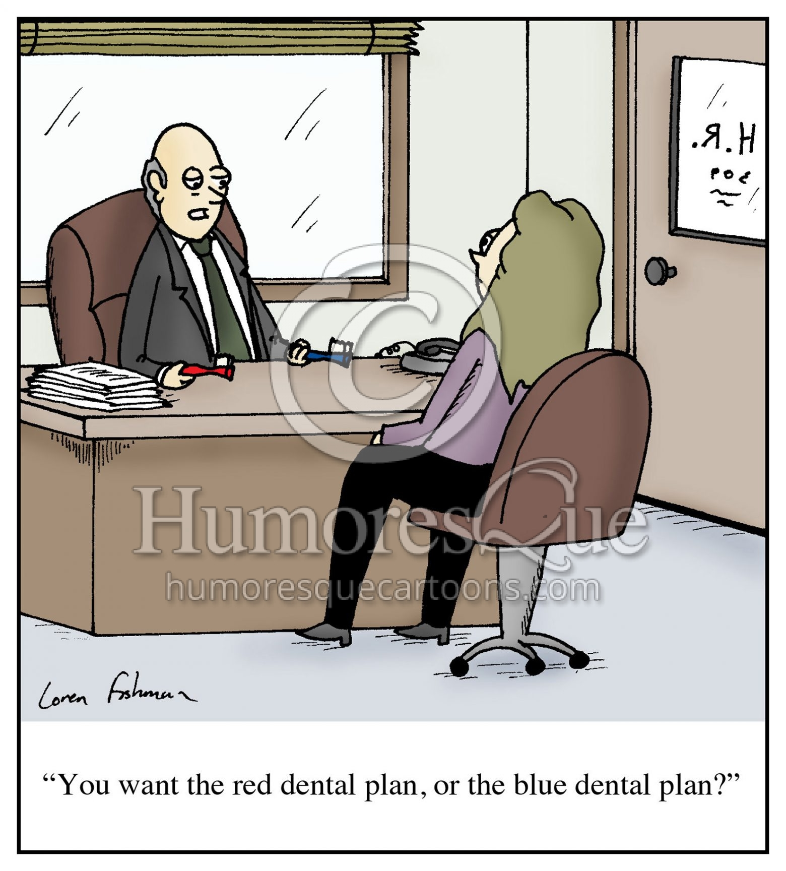 dental plan toothbrush employer cartoon
