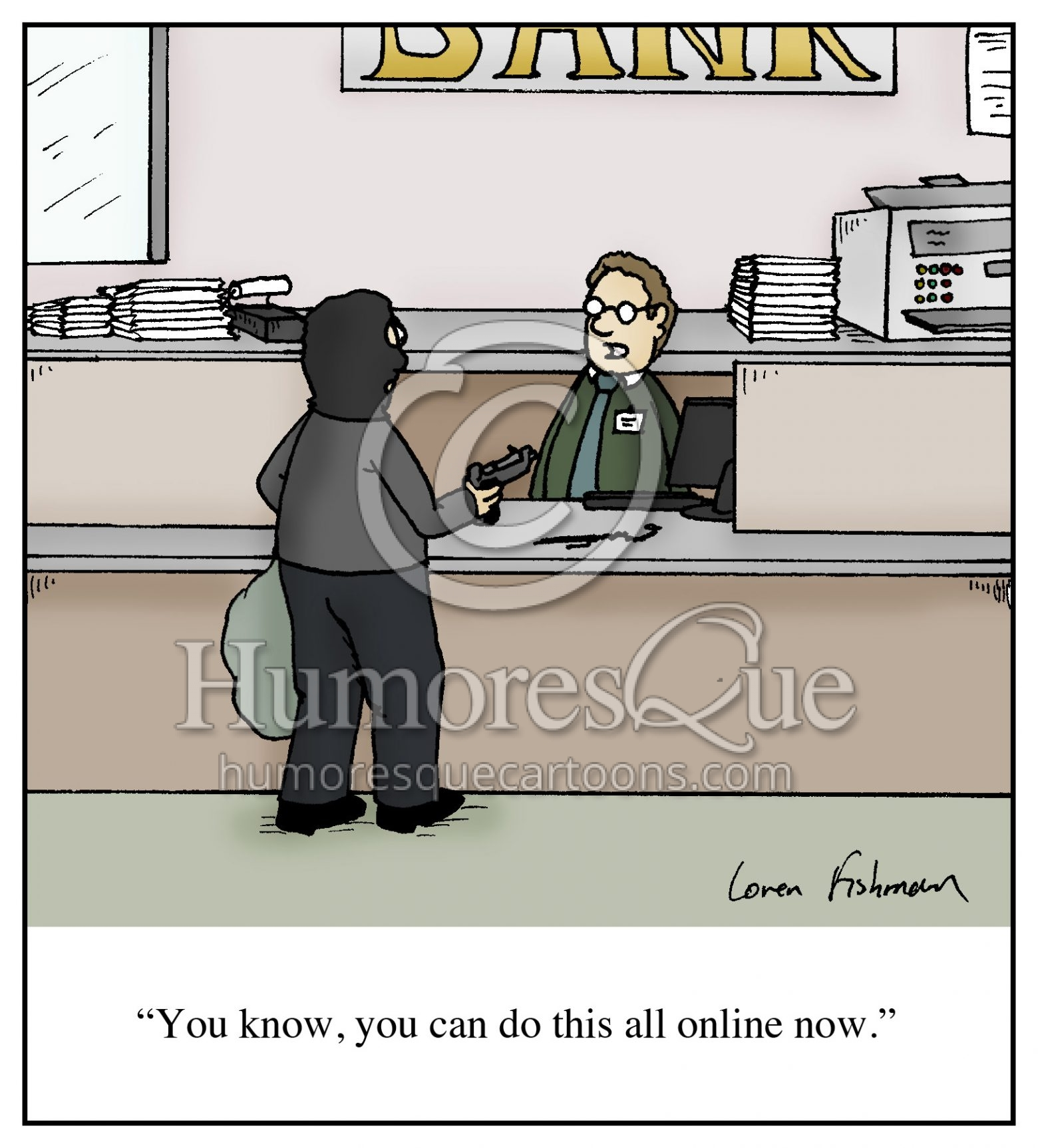 online bank robbery identity theft fraud cartoon