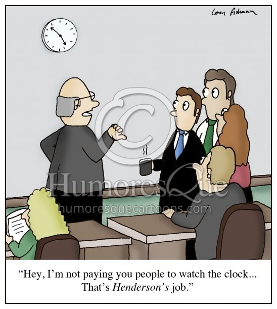 watching clock in the office boring desk job cartoon