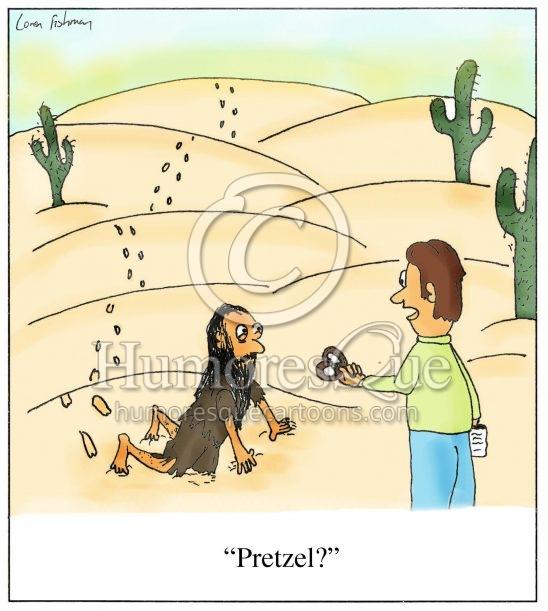man crawling through the desert pretzel cartoon