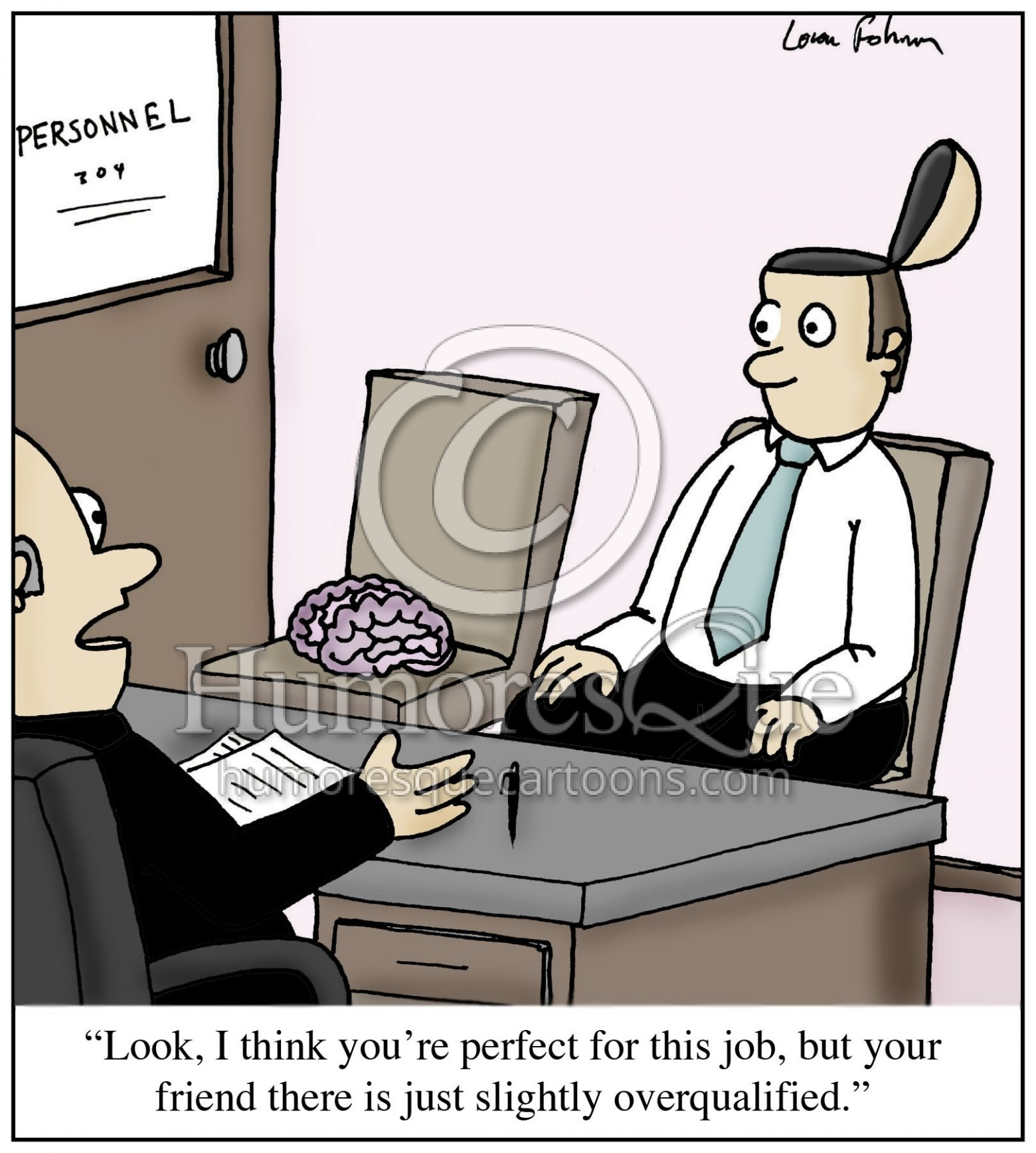 brainless co-worker job interview cartoon