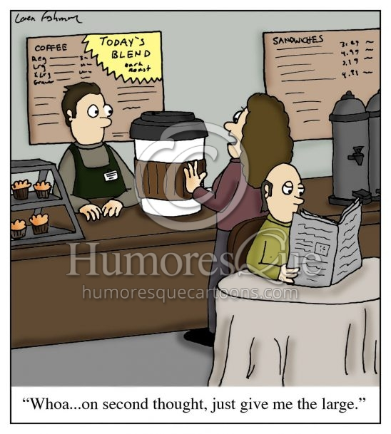cartoon about the size of coffee at coffee shops
