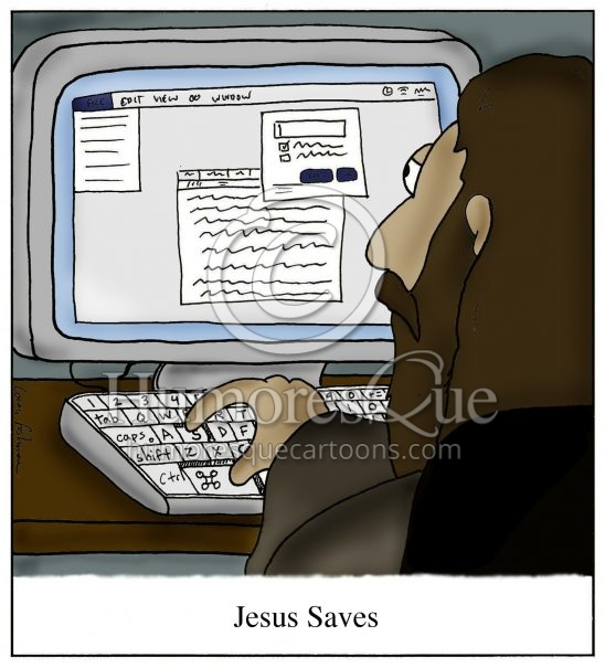 jesus on computer jesus saves cartoon
