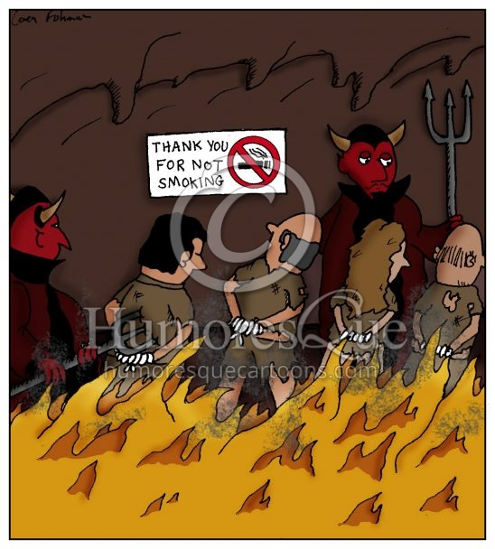no smoking sign in hell cartoon