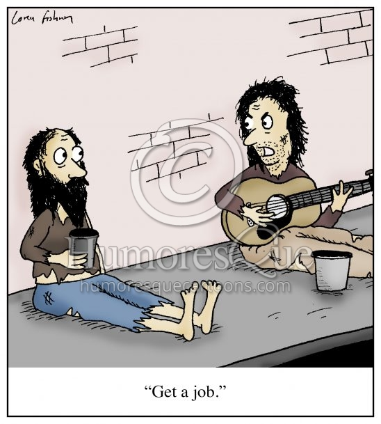bum playing guitar get a job musician cartoon