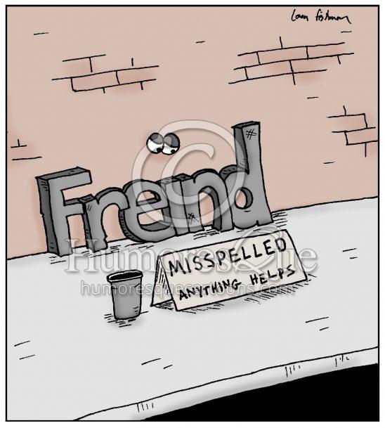 misspelled word freind grammar and spelling cartoon