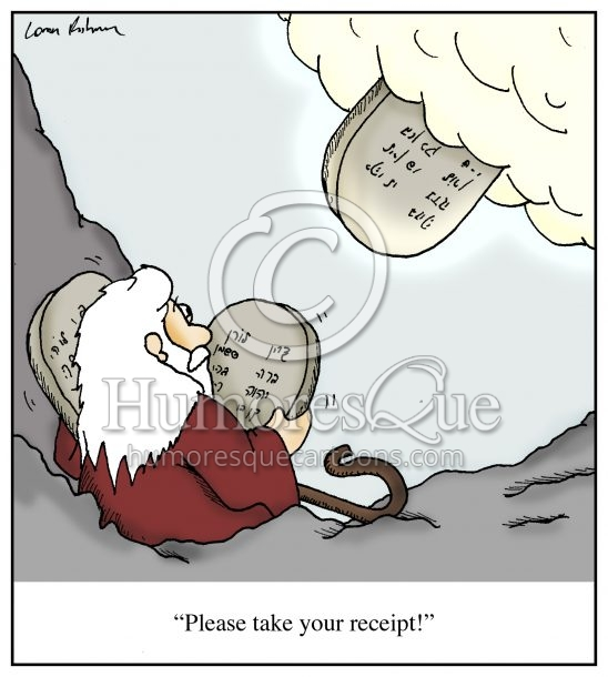 moses cartoon getting a receipt for the ten commandments