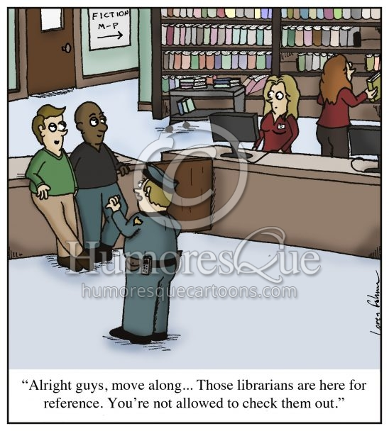checking out librarians reference cartoon