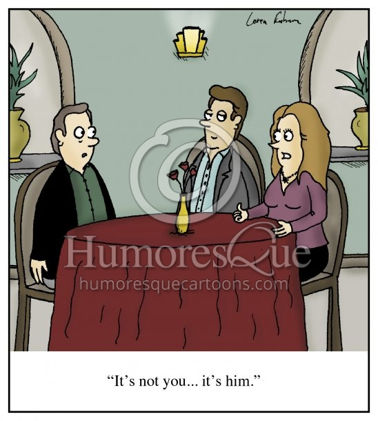It's not you, It's me, only it's actually him dating and breakup cartoon