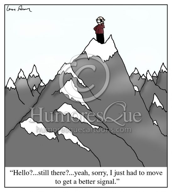 climb a mountain to get a better mobile service signal cartoon