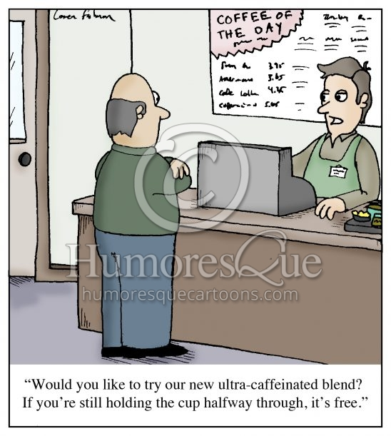 high caffeine coffee addiction cartoon