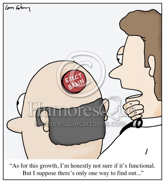brain eject button doctor cartoon