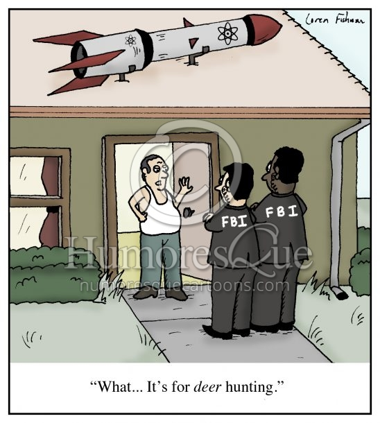 NRA guy with a missile on roof for deer hunting cartoon