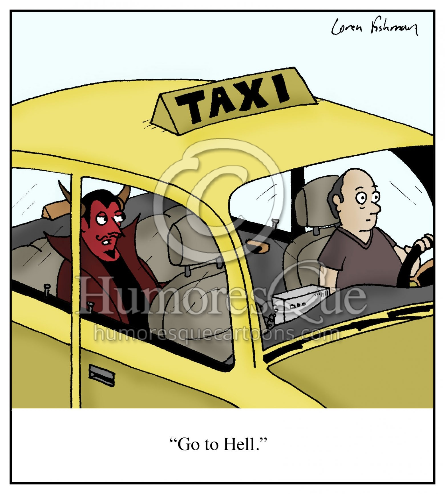 Go to Hell devil in taxi cab cartoon