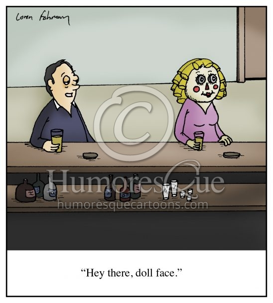 doll face bar pick up line cartoon