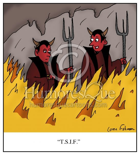 thank satan it's friday office banter cartoon