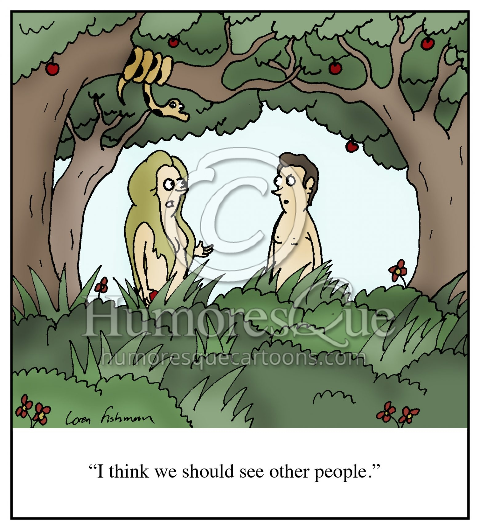 Adam and Eve in Garden of Eden breakup cartoon