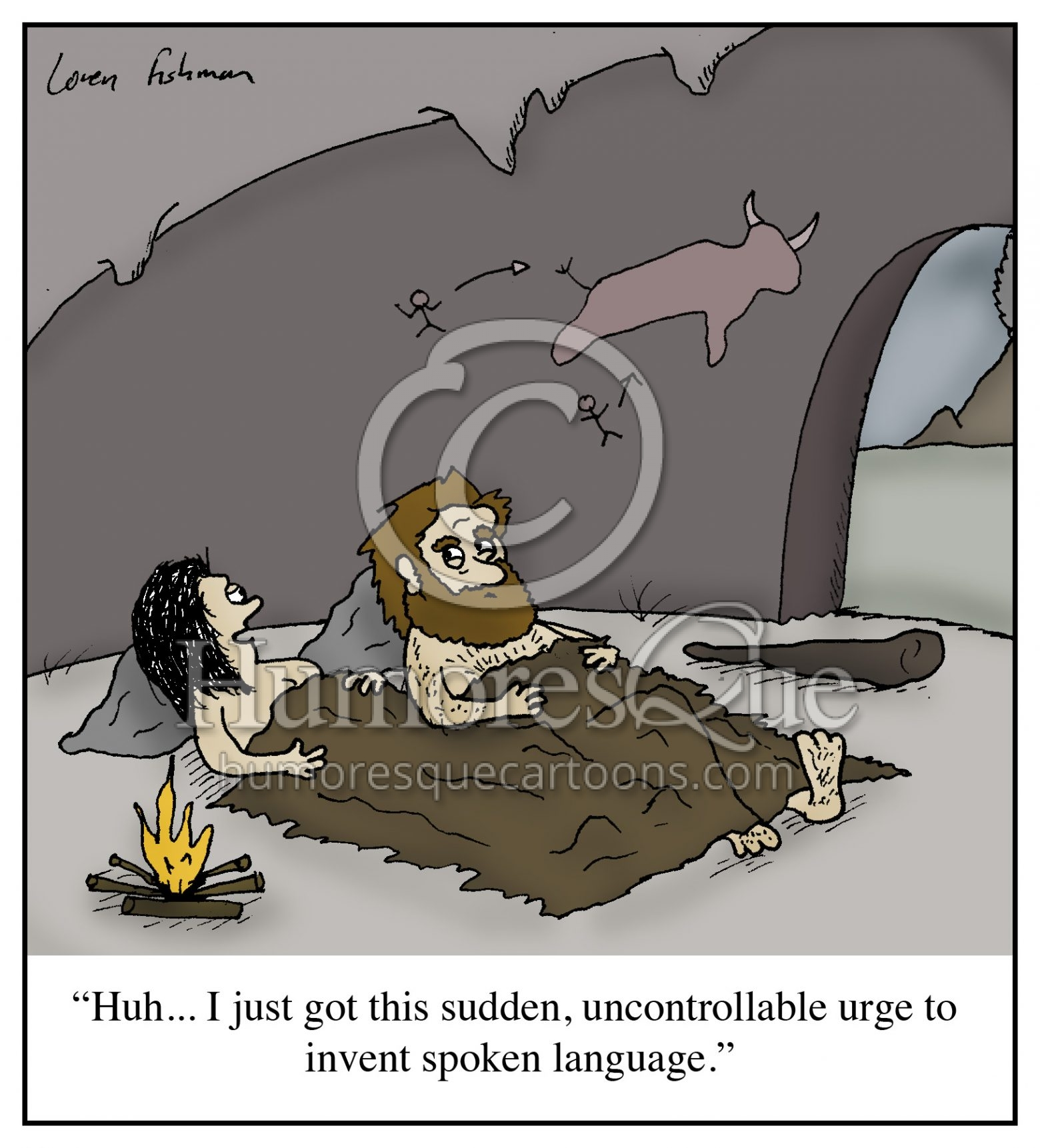 caveman women inventing language to talk after sex cartoon