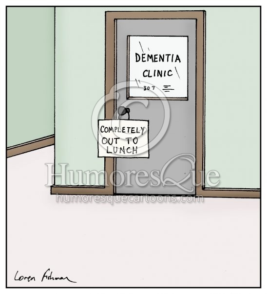 out to lunch dementia mental health cartoon