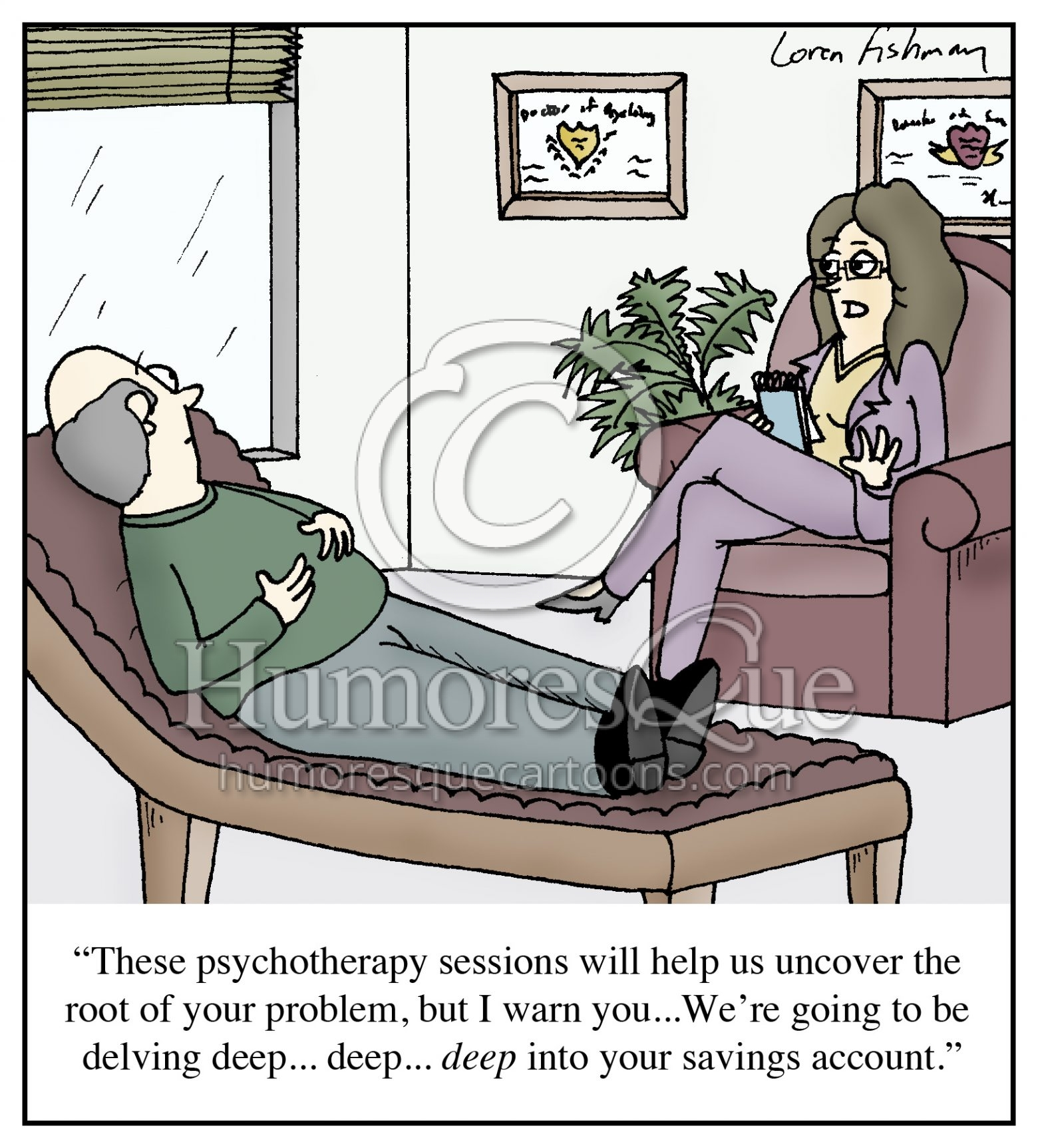 expensive therapy psychiatrist cartoon
