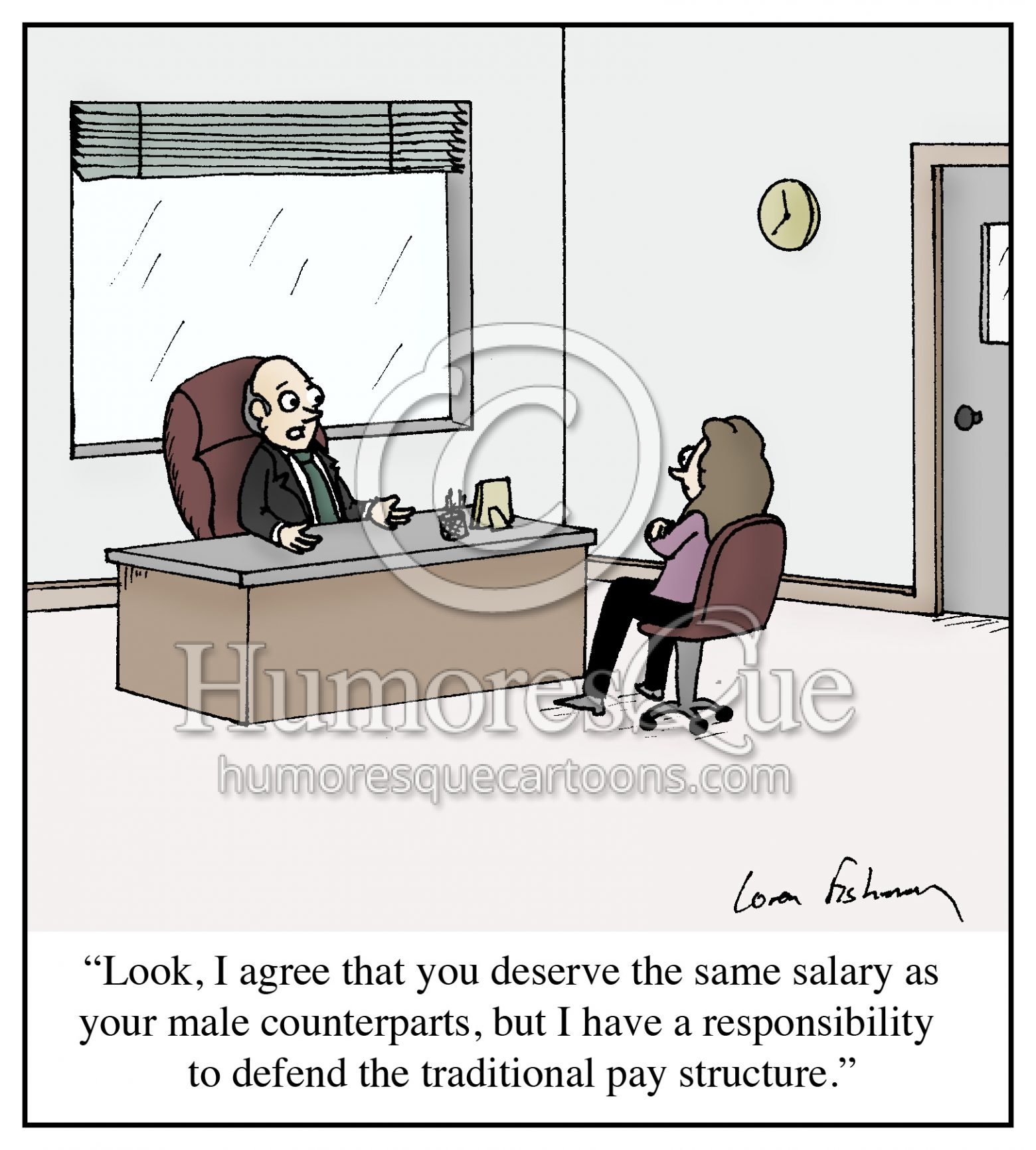equal pay for women sexism in business cartoon