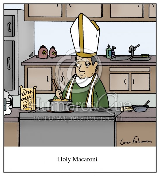 holy macaroni pope cartoon