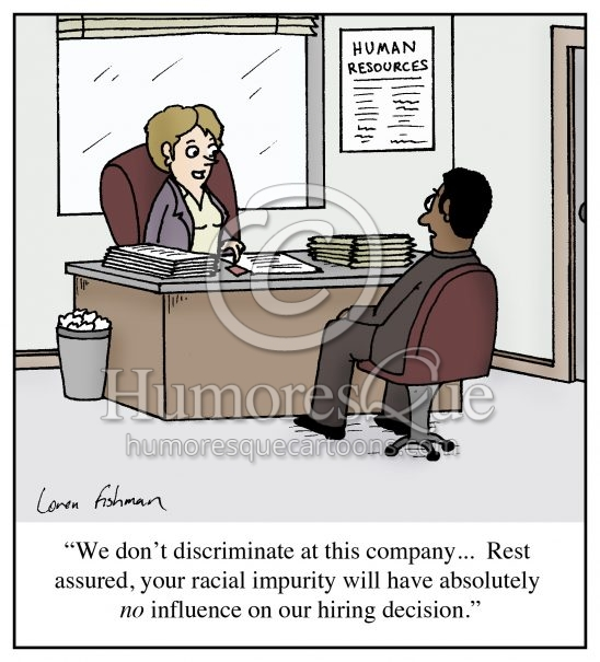 racial impurity prejudice and racism workplace cartoon