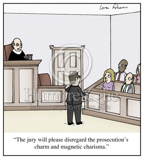 Lawyer prosecution courtroom trial cartoon