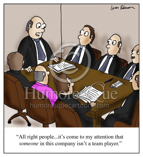 team player office meeting cartoon