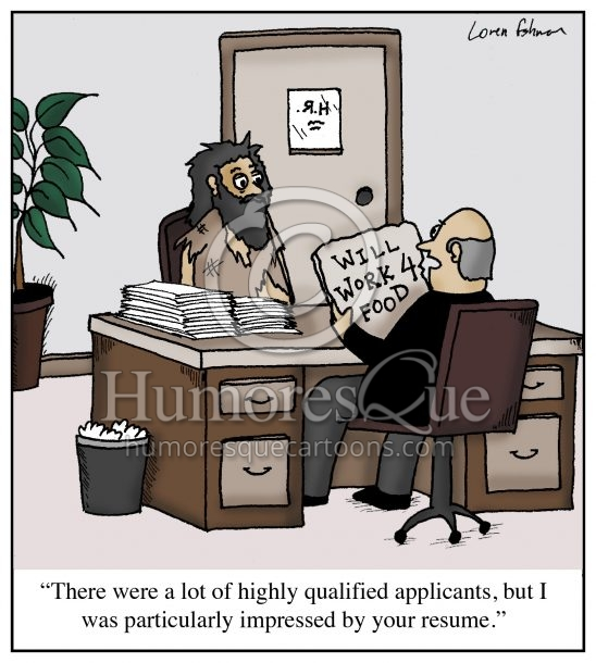 bum job application resume cartoon