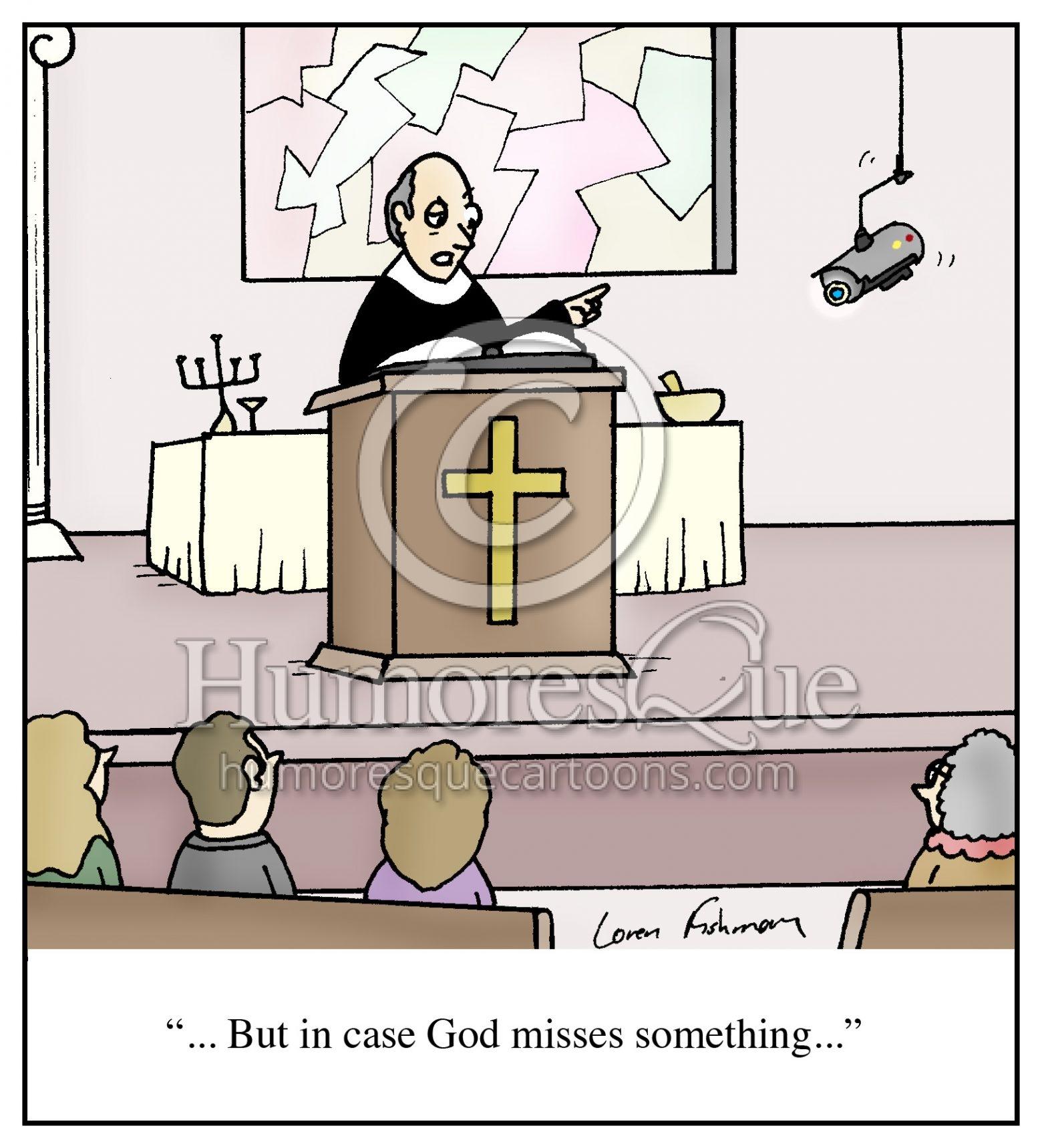 surveillance camera in church cartoon
