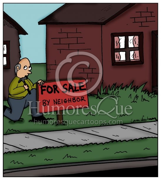 for sale by neighbor real estate property cartoon