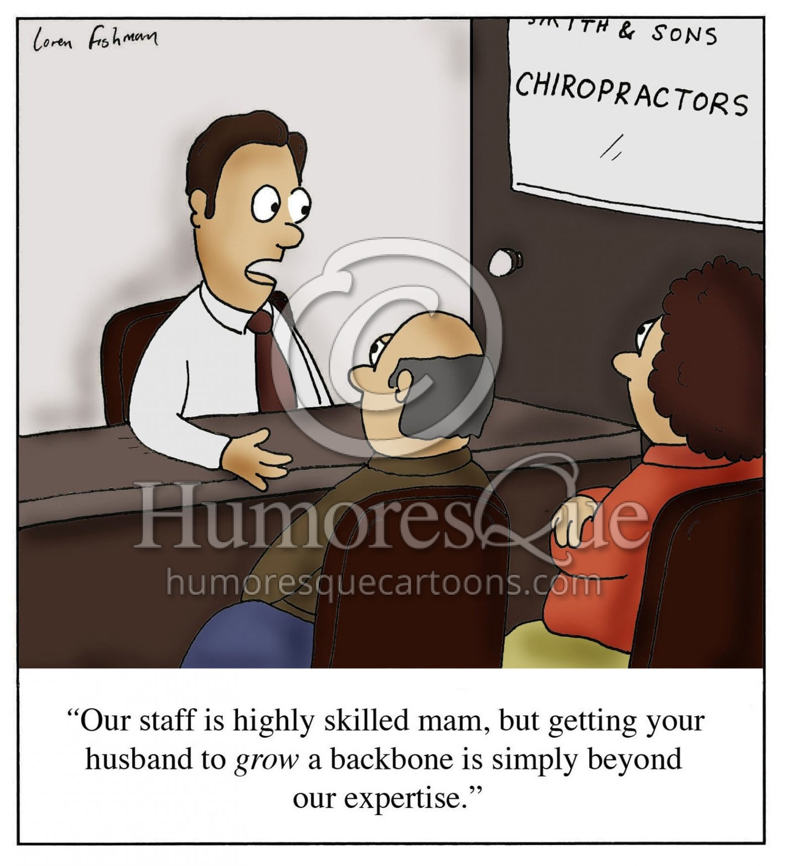 grow a backbone chiropractor cartoon