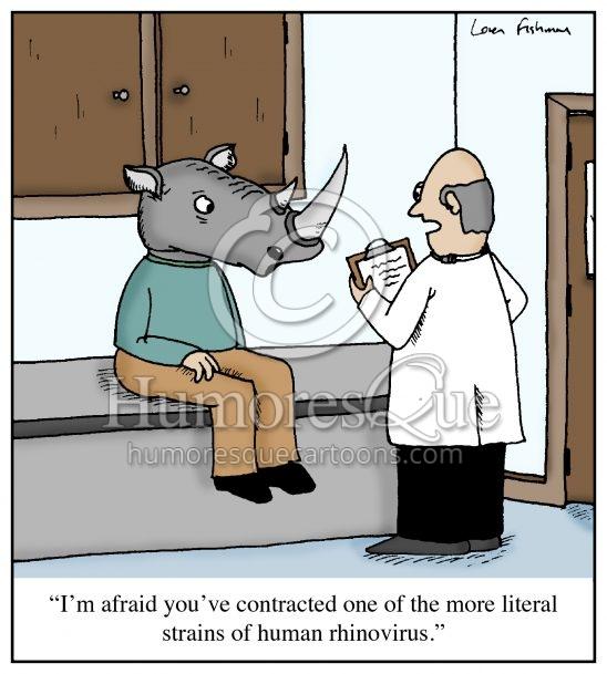 literal rhinovirus medical cartoon