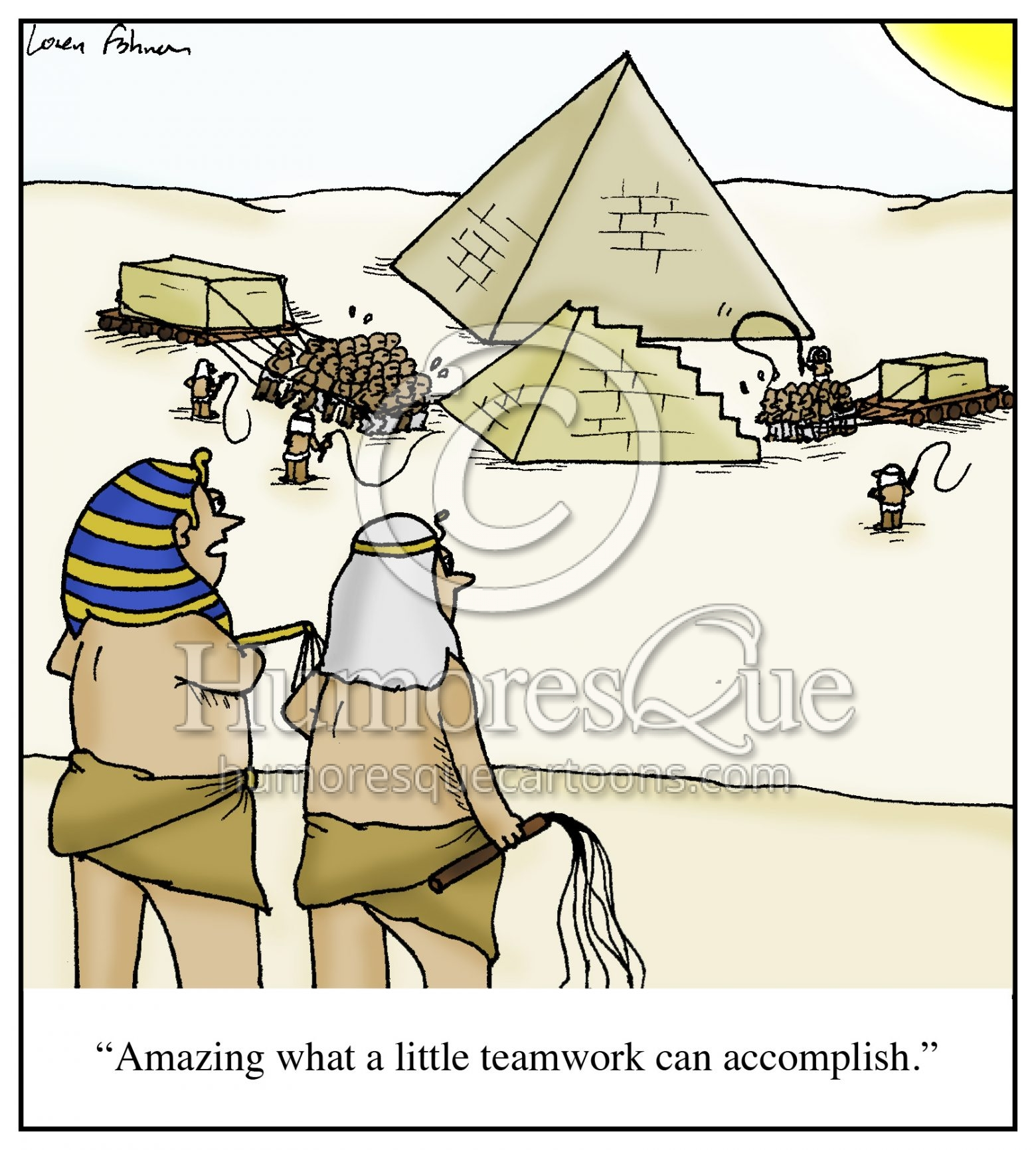pyramid teamwork cartoon