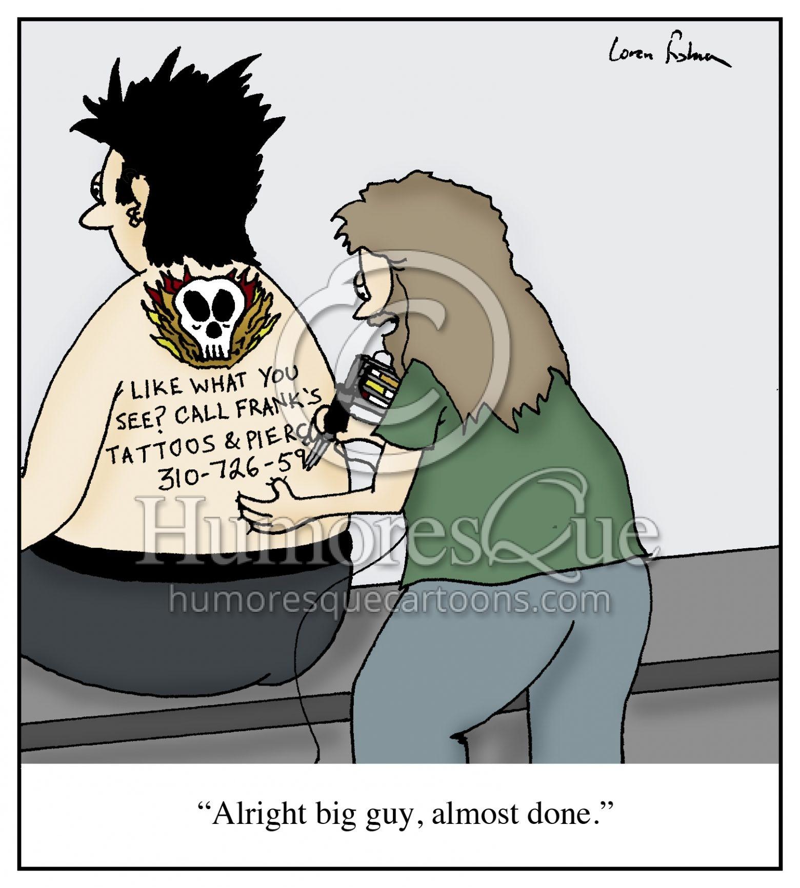tattoo artist advertising cartoon