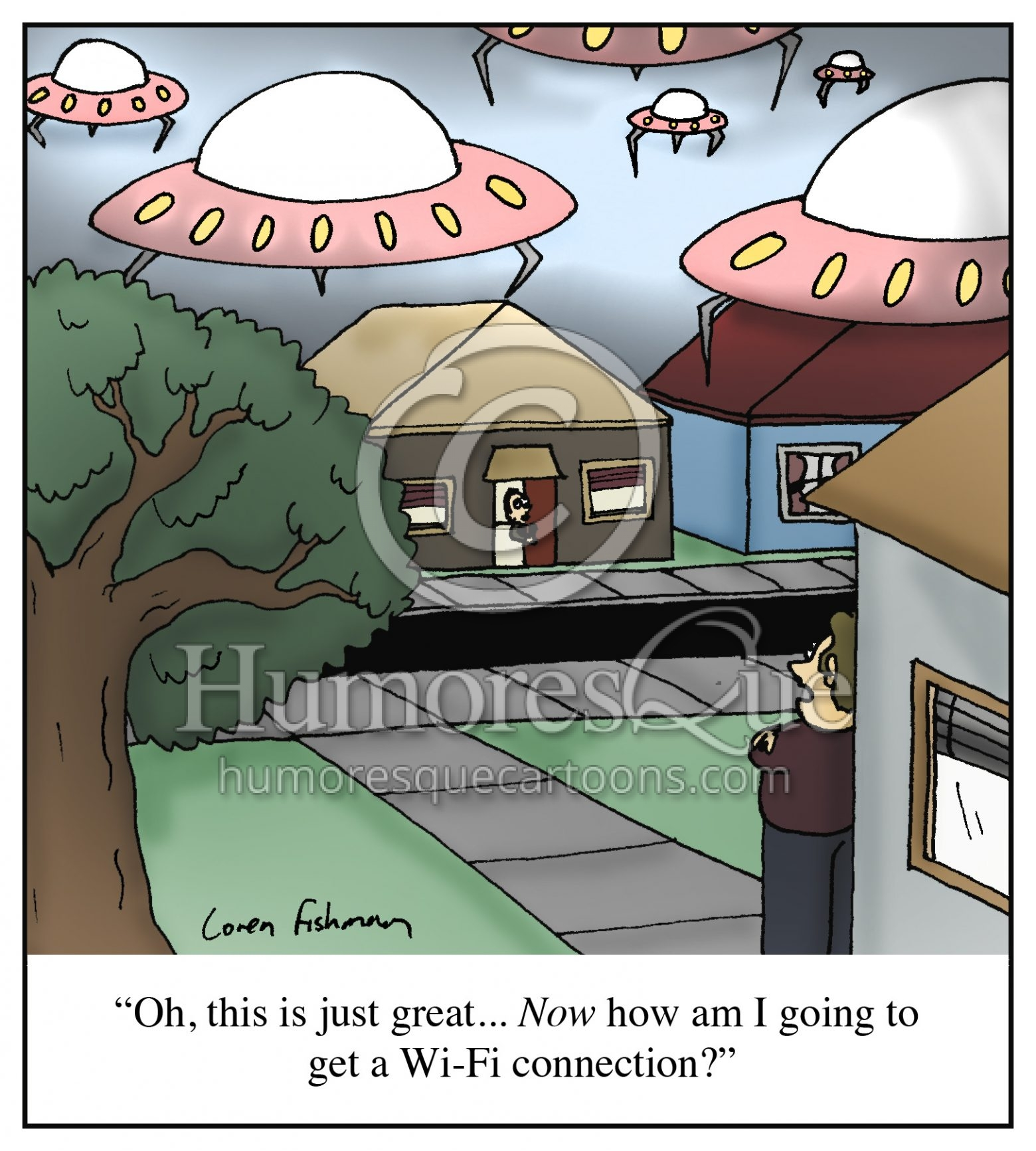 wifi connection alien invasion cartoon