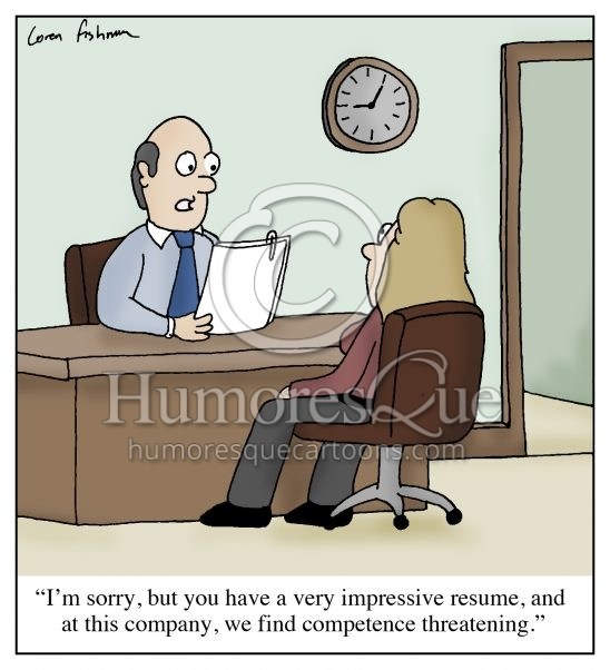 competence threatening hr job interview cartoon